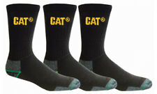 3x Cat Bamboo Socks Pairs Work Caterpillar Black Anti Bacterial CP235300 (6 -11)