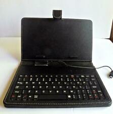 "Tablet Keyboard Cover Case Stand for 7-8"" Tablet – Black Leather"