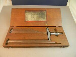 """L.S. Starrett No. 445  0-9"""" Depth Mic with original wood box."""