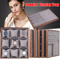 Wood Jewelry Box Case Pendant Ring Earring Watches Display Organizer Tray Holder