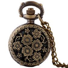 Vintage Pendant Chain Retro Necklace Antique Bronze Flower Pocket Watch Quartz