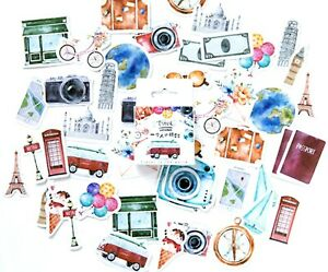 46 TRAVEL STICKERS Watercolour Holiday City Vintage Scrapbook Craft Diary Deco