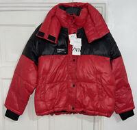 ZARA BLACK RED COMFORTEMP® THERMAL INSULATION PUFFER JACKET COAT SIZE L BNWT