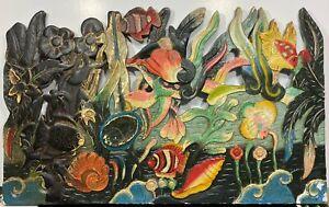 VTG Painted Wood Composition Nautical Rainbow Fish Reef Folk Art Wall Hanging