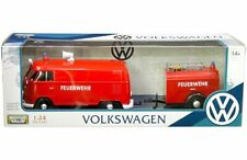 Motormax 1:24 Volkswagen Type 2 T1 Fire Truck with Trailer Diecast Car 79671