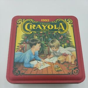 Vintage 1992 Crayola Crayons Empty Christmas Holiday Old 6x6x3 Tin Box