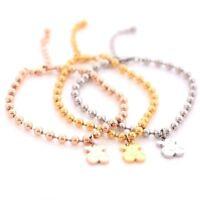 Women's Titanium Steel Teddy Bear Beads Chain Charm Bangle Bracelet Jewelry Gift