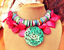 GENUINE JADE Carved Pendant NECKLACE Turquoise Howlite 2-STRAND Rainbow Pink XL