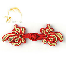 5 Pair Handmade Red Flower Chinese Frogs Closure Knots Buttons Ribbon Fasteners