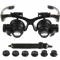 10/15/20/25X Brille Lupenbrille LED Vergrößerungsglas Lupen Uhrmacher Juwelier^