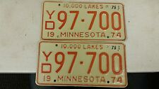 1975 MINNESOTA 10,000 Lakes License Plate YD 97-700 Pair