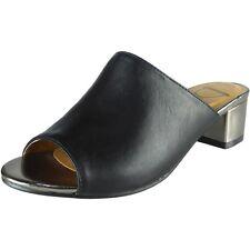 New Womens Ladies Low Block Heel Shoes Slip On Peeptoe Mules Sandals Size