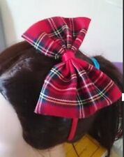 "5"" Large Tartan Fabric Bow Hair Band Headband Aliceband Girls"