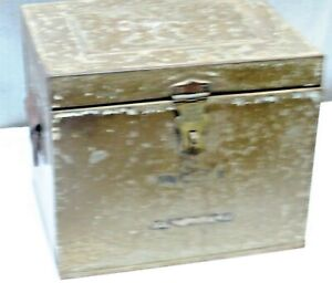 Vintage Metal Ice Box Cooler Brass Latch/Iron Handle Outdoor Camping portable