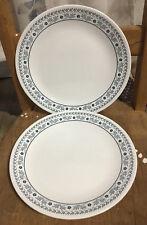 "Set of 2 vintage Corelle blue and white daisy flower 10 1/2"" dinner plates VGUC"