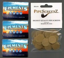 "3X ELEMENTS THIN RICE Rolling Papers 1 1/2 Size & 100+ (3/4"") BRASS PIPE SCREENS"
