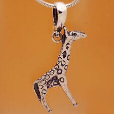 925 Sterling Silver Children Giraffe Camelopard Animal Pendant &Gift VelourStrap