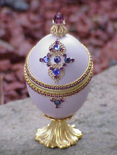 REAL Decorated Carved Duck Egg Engagement Ring Royal Gift Box Collectible Lav
