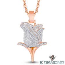 10 Karat Solid Gold, 1/2 Carat Natural Diamond Rose Flower Pendant