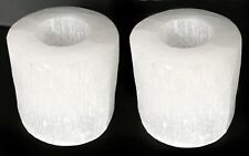 Selenite Crystal Candle Holder Set of 2 Handmade 3 Candle Tea Light Stand Lamp