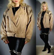 Vtg 80s Genuine LEATHER Plunging Notched Biker Moto BATWING Buckled Coat Jacket