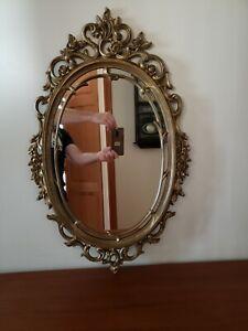 """Vintage Syroco Oval Wall Mirror Hollywood Regency Frame 29"""" x 18"""""""