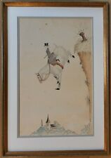 Lady Fox Hunter taking a very steep drop! Original ink & watercolour, circa 1900