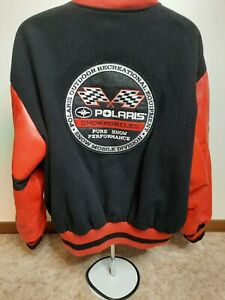 Vintage Polaris Winterwear Performance Leather Wool Varsity Jacket 2X Snowmobile