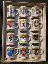 Set of 12 Vintage Mini German Beer Stein City Mugs 2� Ceramic