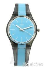 New Swatch Originals AZZURRAMI Shiny Transparent Gray Watch 34mm GM186 $60
