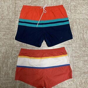 2x Vintage 80s Swim Trunks Color Block Mens 35 Waist Retro