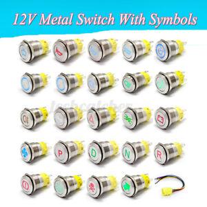 19mm 12V Car LED Metal Push Button Switch Dashboard Custom Symbol 4 Momentary US