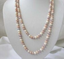 "Natural 7-8mm white pink purple freshwater pearls necklace 50"" JN34"