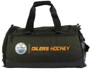 NWT EDMONTON OILERS HOCKEY NHL AUTHENTIC BLACK PERFORMANCE DUFFLE BAG