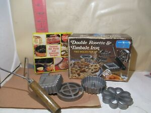 NORDIC WARE DOUBLE ROSETTE & TIMBALE IRON SET - HANDLE & FOUR MOLDS