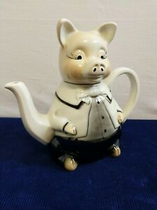 Vintage Tony Wood Master Piggy Novelty Staffordshire Pottery Teapot Collectable