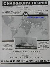 PUBLICITE 1929 CHARGEURS REUNIS PAQUEBOT CROISIERES MAROC ALGERIE FRENCH ADAD