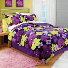 Twin Carly Plush Comforter Set  Sham Bedskirt Floral Flower Purple Girls Decor