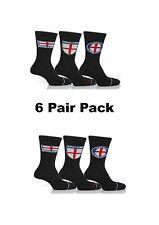 6 Pair Mens Cotton England Suit Socks With Multi Flag Motif Black T4