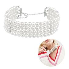 Romantic Charm Pearl Choker Multi-layer Beads Chain Necklace