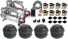 """Air Compressors 480 Chrome AirMaxxx 3/8"""" Valves 2600 Air Bags Clear AVS 7 Switch"""