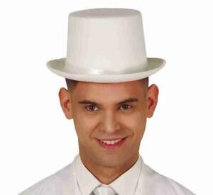 White Felt Top Hat Fancy Dress Costume Accessory