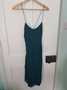 Kimchi Blue Teal Lace Mid Length Dress Cross Back from urban outfitters