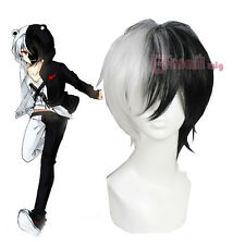 Dangan Ronpa monokuma 30cm Short Straight Black And White Cosplay Wig USA Ship