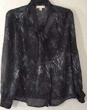 Michael Kors Women's Size L Button Down 100% Silk Marbel Blouse Neck-tie Bow