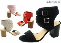 NEW Women's Ankle Double Buckles Chunky High Heels Sandal Shoes Size 5.5 - 11