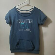 Hollister Surf League Short Sleeve Blue Front Pocket Sweatshirt Women's Size M