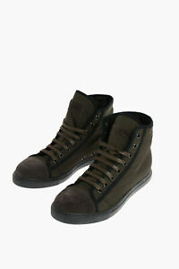 CORNELIANI men Sneakers High Shoes Ankle Boots Rubber Sole Green 8 (Shoes UK)