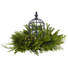 "Artificial Mixed Pine & Bird Cage Glass Candle Holder Arrangement 24"" Wide"