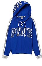 Victoria's Secret Pink Fashion Show Bling Lace Up Hoodie Blue XSmall NWT